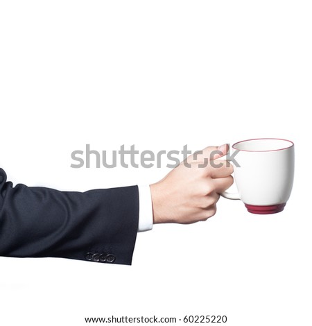Businessman hand holding a cup of coffee on white background