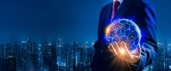 Businessman hand holding blue earth and global networking connection,blockchain,virtual technology,big data,iot,rpa,artificial intelligence(ai),network concept,Elements of this image furnished by NASA