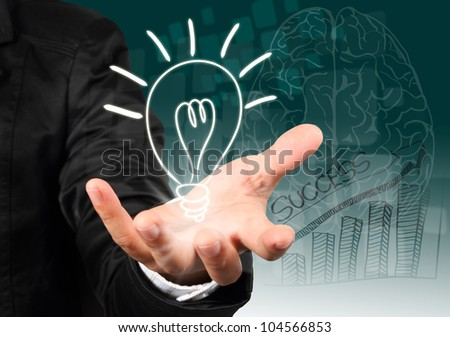 Businessman hand holding light bulb illustration idea concept.