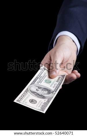 businessman hand holding one hundred dollar bill (isolated on black) - stock photo