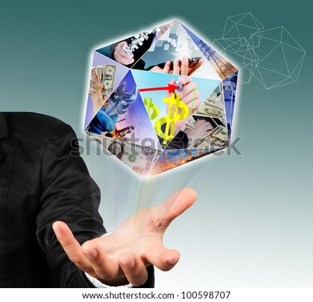 Businessman hand holding prism icon with business concept,technology concept, and industrial concept.