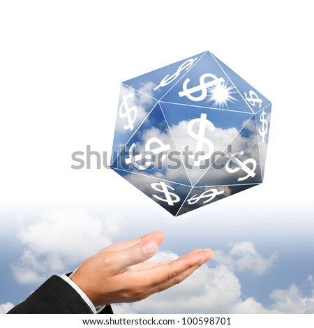 Businessman hand holding sky prism with dollar sign.