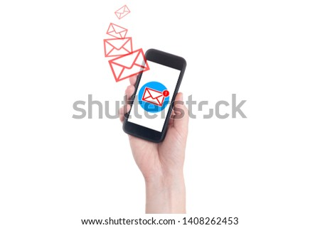 Businessman hand holding smart phone with icon mail. Hand holding  smartphone. A new message received on mobile phone. White background #1408262453