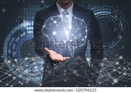 Businessman hand holding the brain over the Innovation Technology background, technology and innovation concept