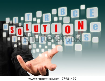 Businessman hand holding with red solution alphabet streaming images