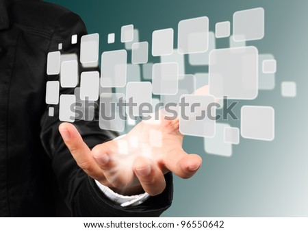 Businessman hand holding with streaming images