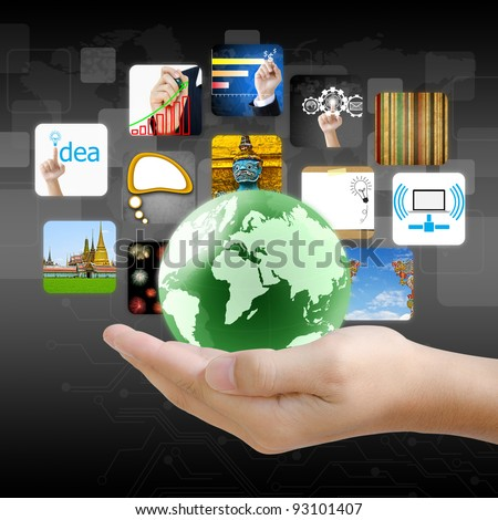 businessman hand holding world with image business collection