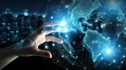 Businessman hand in dark using America USA map globe network hologram 3D rendering