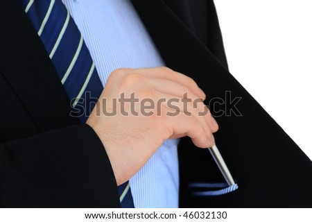 Businessman hand is putting pen in inner jacket pocket