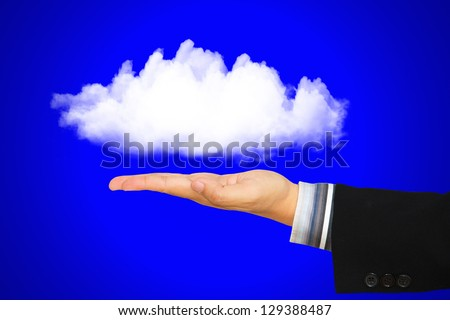 Businessman hand offer the cloud, Concept for cloud computing