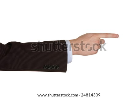 Businessman hand point. Isolated over white.