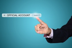Businessman hand pointing OFFICIAL ACCOUNT