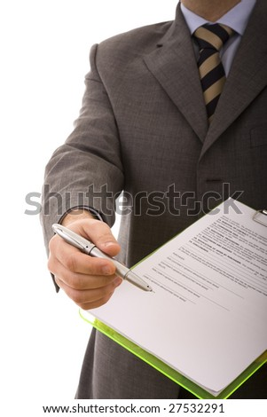 businessman hand pointing to the place in a document that need's your signature (selective focus)