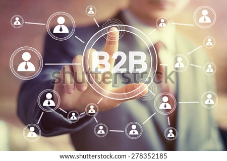 Businessman hand press web button b2b icon Stockfoto ©