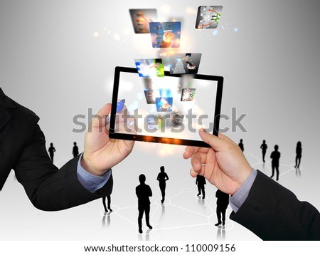 Businessman hand pressing business collection