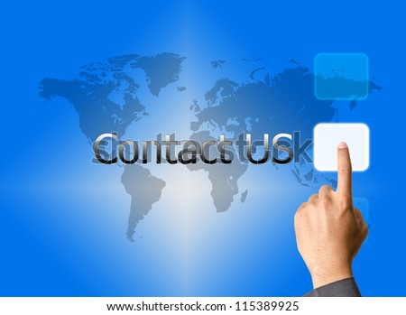 businessman hand pressing contact us button on a touch screen interface
