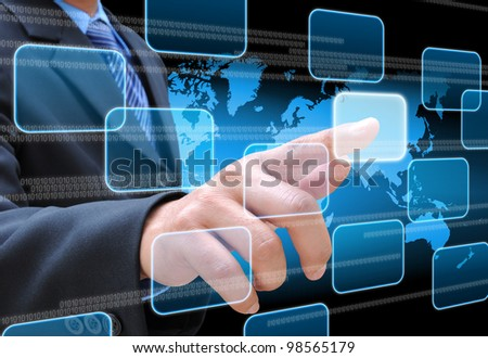 businessman hand pushing button on a touch screen interface