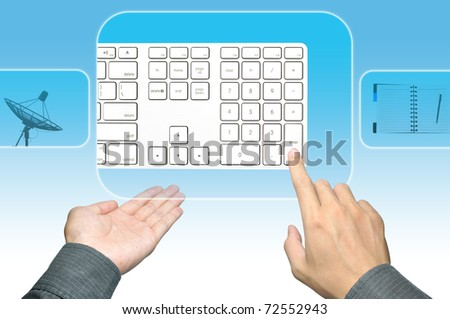 businessman hand pushing keyboard on a touch screen interface
