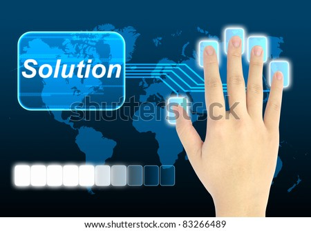 businessman hand pushing solution button on a touch screen interface