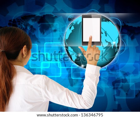 businessman hand pushing tablet computer