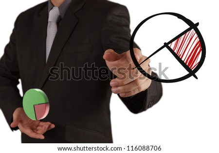 businessman hand showing a pie chart