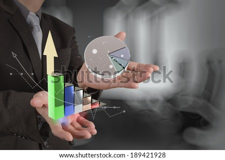 businessman hand showing 3d graphic model business strategy as concept