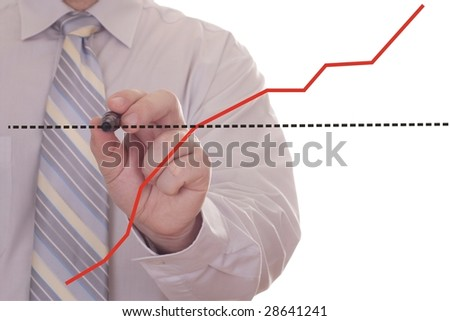 businessman hand showing graph