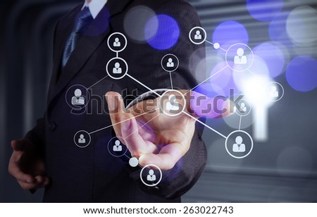 businessman hand showing human icon flow chart on new modern computer as concept with bokeh exposure - Shutterstock ID 263022743