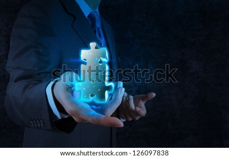 businessman hand showing partnership sign as  concept