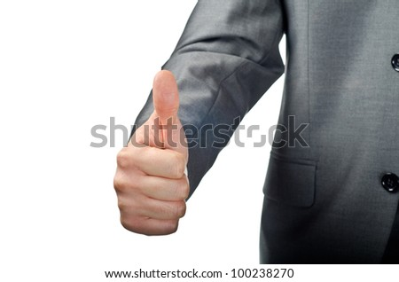 Businessman hand showing thumbs up isolated on white