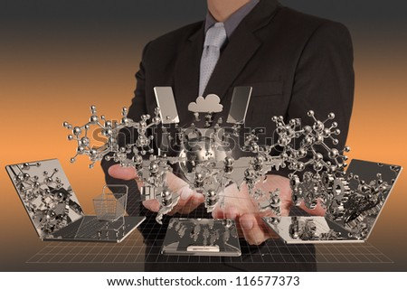 businessman hand shows modern technology as concept