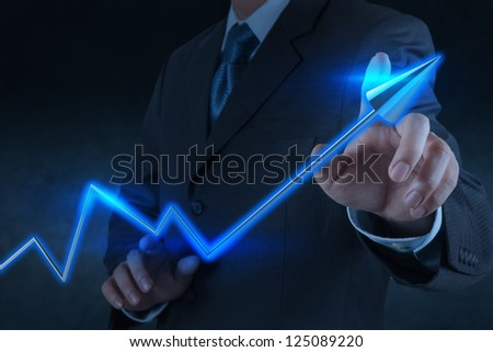 businessman hand touch 3d virtual chart business as concept