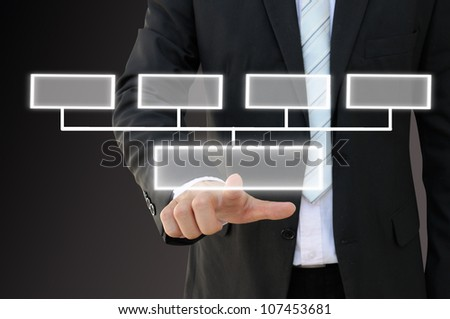 Businessman hand touch screen button of 4 choices blank chart