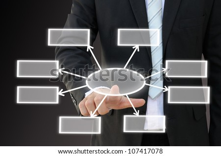 Businessman hand touch screen button of eight choices blank chart