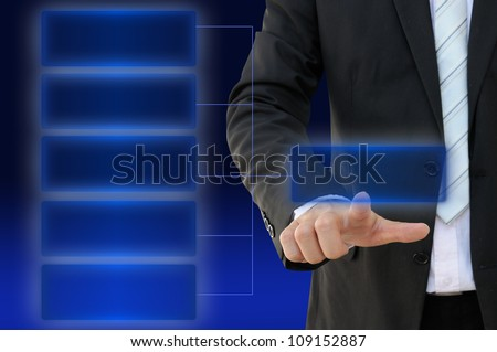 Businessman hand touch screen button of five choices blank chart