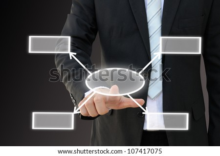 Businessman hand touch screen button of four choices blank chart