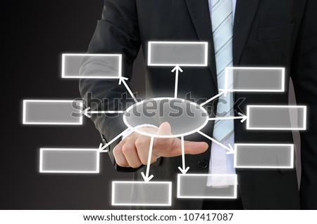 Businessman hand touch screen button of nine choices blank chart