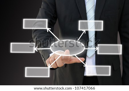 Businessman hand touch screen button of six choices blank chart