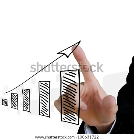 businessman hand touch virtual graph on the screen. - stock photo