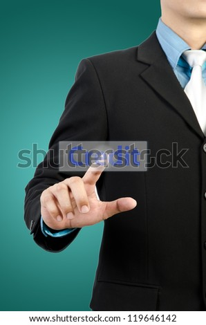 businessman hand touching credit  button