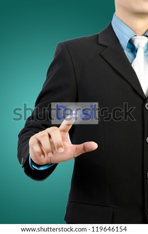 businessman hand touching deal  button
