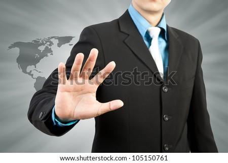 businessman hand touching screen - stock photo