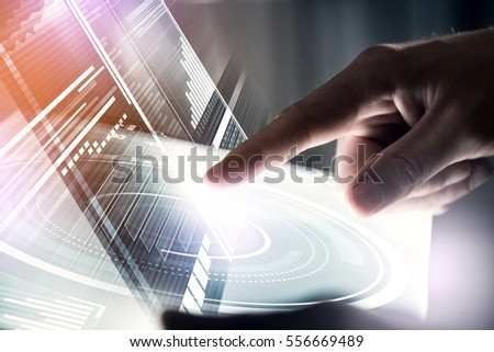 Businessman hand touching with finger virtual panel with infographs #556669489