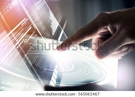 Businessman hand touching with finger virtual panel with infographs #565061467