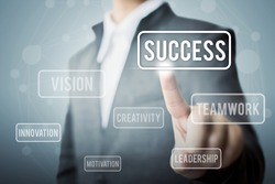 Businessman hand touching word success, Concept part to success