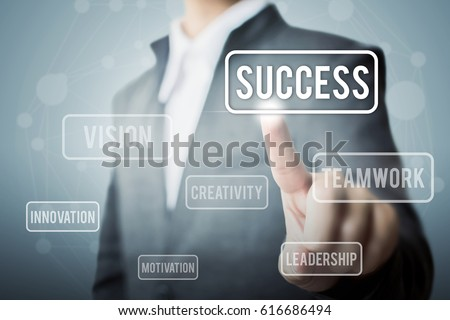 Businessman hand touching word success, Concept part to success #616686494