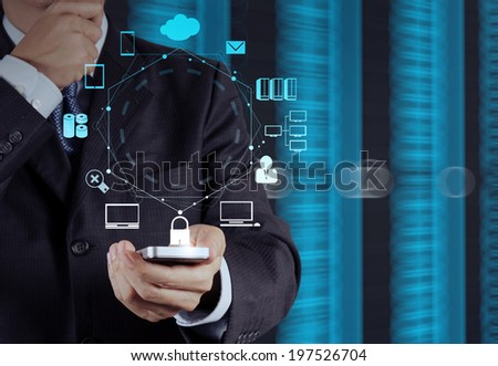 businessman hand use smart phone computer with email icon as concept  #197526704