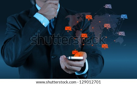 businessman hand use smart phone computer with modern email icon as concept