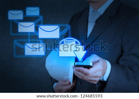 businessman hand use smart phone computer with virtual email icon
