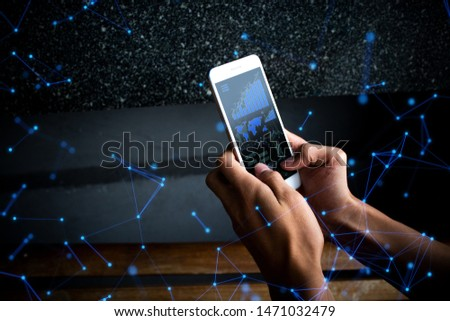 businessman hand use the smartphone device online to network social internet of things concept, data deep learning ai ui, hacker on server system, digital trade risk working